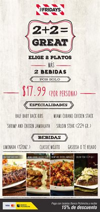 Ofertas de TGI Fridays  en el folleto de Quito