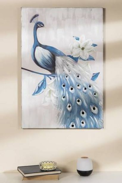 Oferta de Cuadro Pavo Real Azul Yiwu por 69,99€
