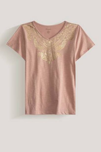Oferta de Camiseta de Algodón Estampado Foil Amanda por 19,99€