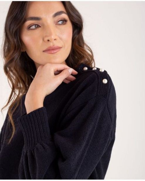 Oferta de Suéter tejido para mujer negro manga larga con perlas por 189900€
