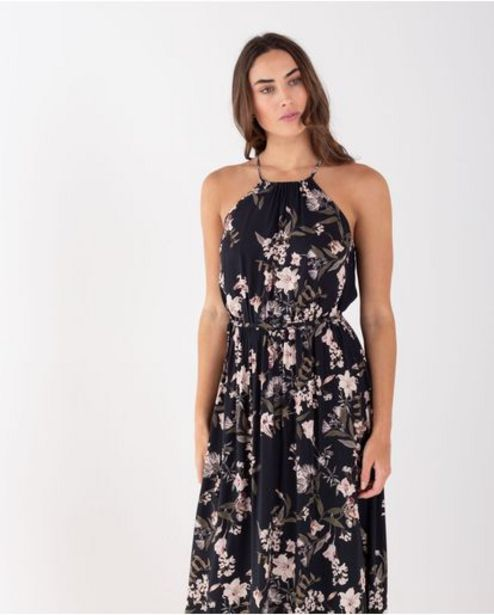 Oferta de Vestido largo para mujer negro de tiras con estampado floral por 209900€