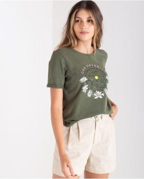 Oferta de Camiseta para mujer verde manga corta con estampado floral localizado por 89900€