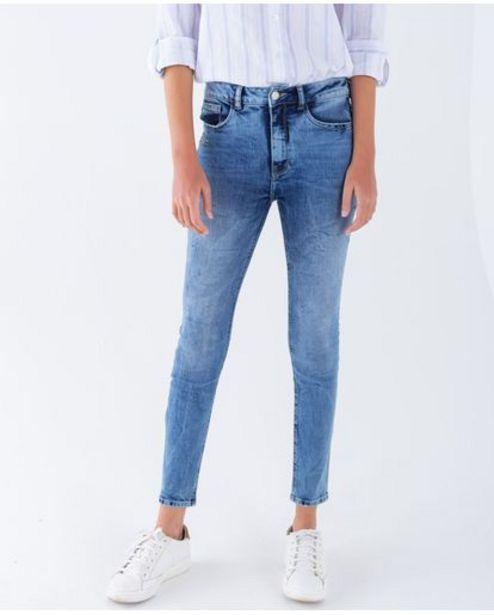 Oferta de Jean para mujer tono medio claro skinny fit tiro alto con apliques con efecto metálico por 89950€