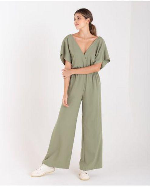 Oferta de Enterizo largo para mujer Verde manga corta con cintura elástica por 189900€