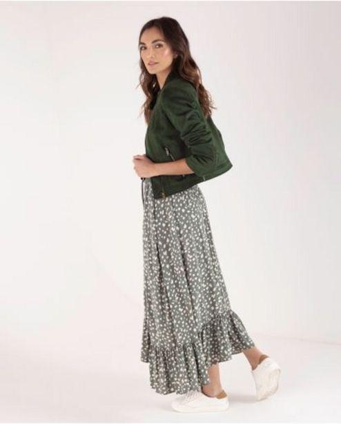 Oferta de Falda larga para mujer verde con lunares estampados por 169900€