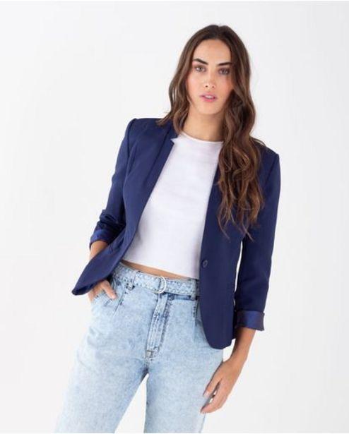 Oferta de Blazer para mujer azul con solapas invertidas por 269900€