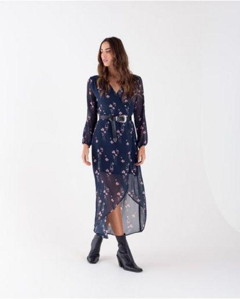 Oferta de Vestido midi para mujer azul manga larga con estampado floral por 199900€
