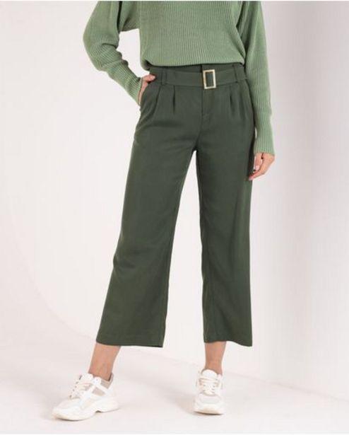 Oferta de Pantalón para mujer verde Culotte tiro alto con cinturón por 179900€