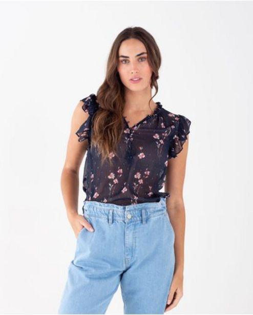 Oferta de Camisa para mujer azul manga sisa con estampado floral por 119900€