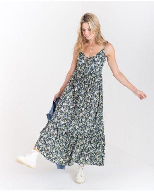 Oferta de Vestido largo para mujer azul de tiras con diseño escalonado y estampado floral por 209900€