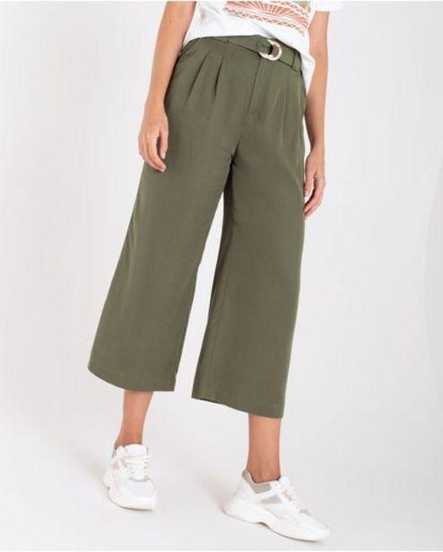 Oferta de Pantalón para mujer verde Culotte tiro súper alto con cinturón por 179900€
