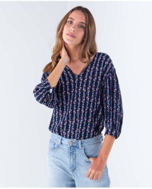 Oferta de Camisa para mujer manga tres cuartos con motivos florales estampados full cobertura por 74950€