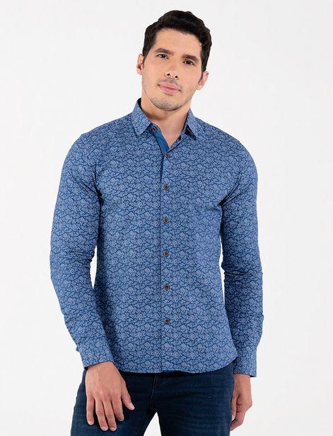 Oferta de Camisa estampada azul por 31,9€