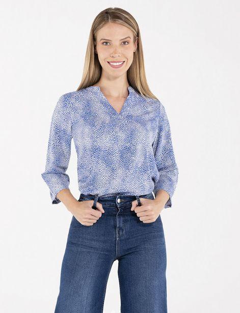 Oferta de Blusa estampada azul por 24,9€
