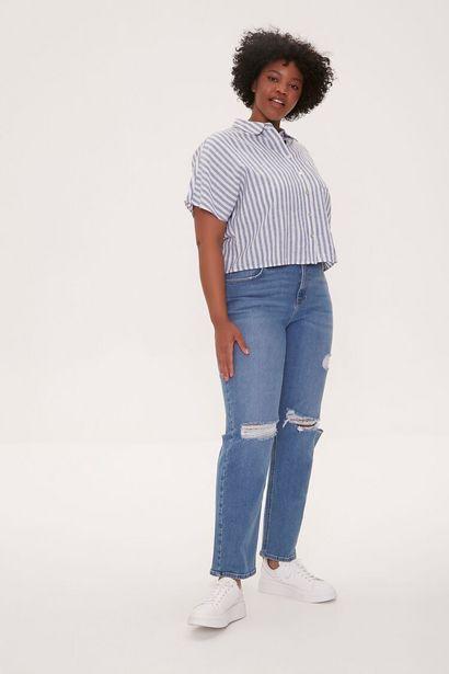 Oferta de Plus Size Distressed Straight-Leg Jeans por 24€