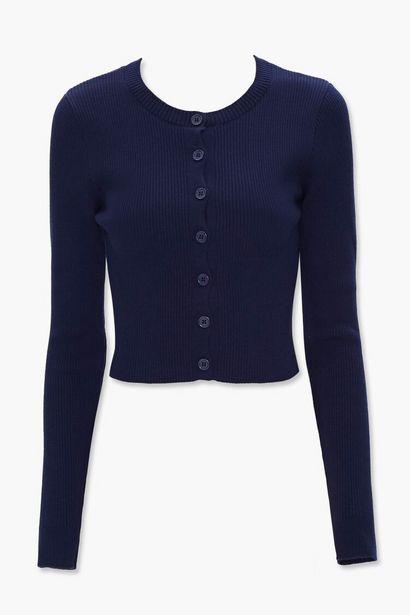 Oferta de Ribbed Knit Cardigan Sweater por 16€