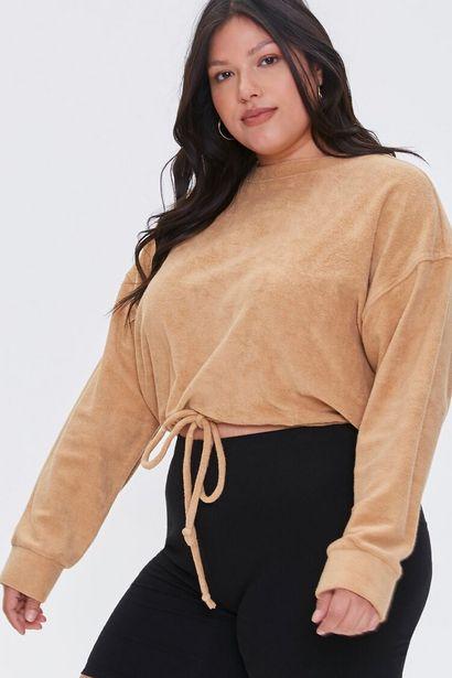 Oferta de Plus Size French Terry Drawstring Pullover por 7€