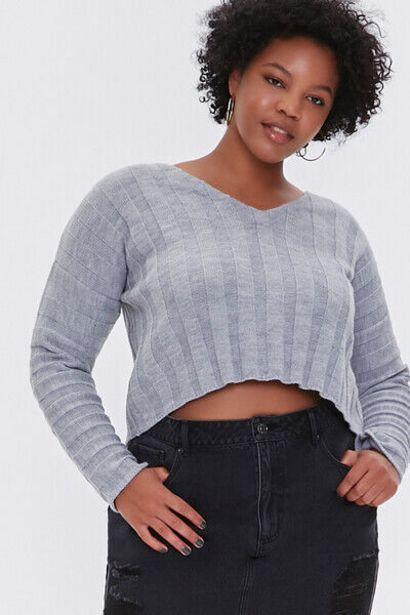 Oferta de Plus Size Ribbed Drop-Sleeve Sweater por 14€