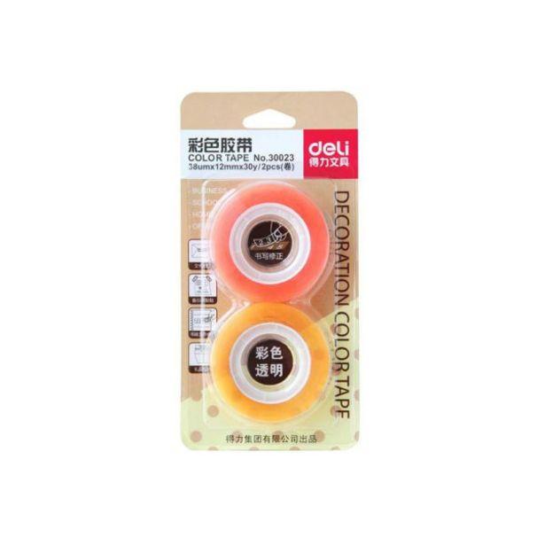 Oferta de  Cinta Adhesiva Deli 12mmx30 Yardas – 2 Unidades/ Color... por 0,85€
