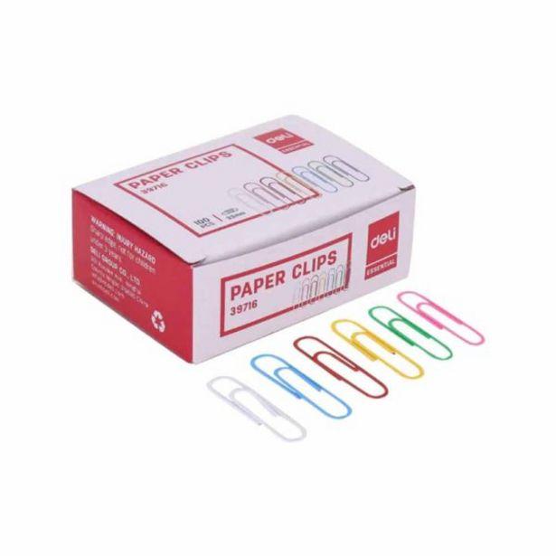 Oferta de  Caja De 100 Clips 33 Mm Deli Varios Colores por 0,64€