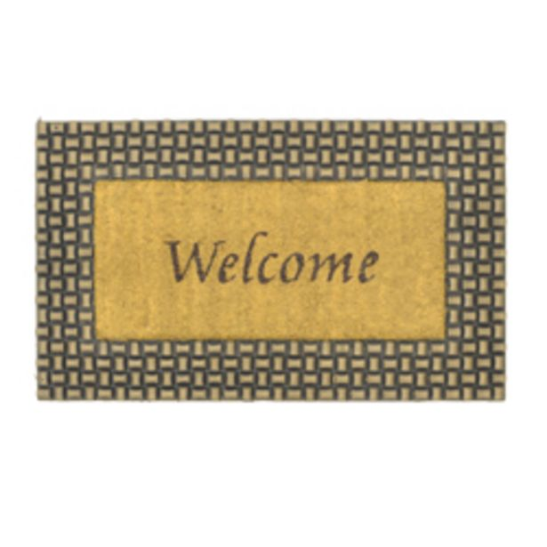 Oferta de Alfombra Diseño de Welcome Oro Negro para Piso Exterior 75x45 cm por 18,51€