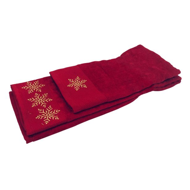 Oferta de Set de Toallas Navideña Copos Rojo por 12,99€