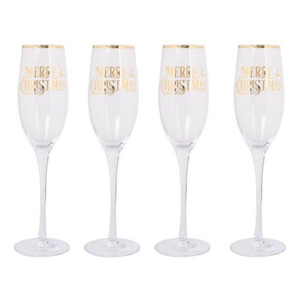 Oferta de Juego de Copas Champagne Marry Christmas 4  Piezas por 19,5€
